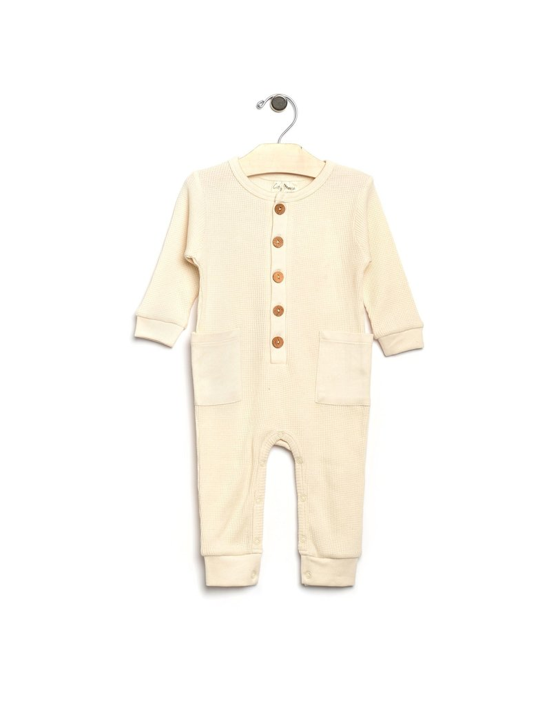 City Mouse City Mouse | Waffle Button Romper in Natural