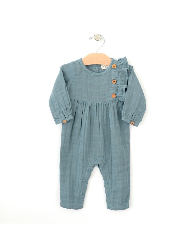 City Mouse City Mouse | Muslin Side Button Romper in Lake