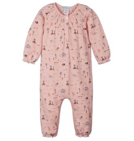 Feather Baby | Dinosaurs on Coral Ruched Romper