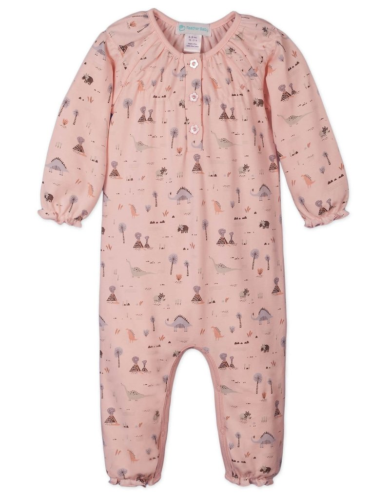 Feather Baby |Dinosaurs on Coral Ruched Romper
