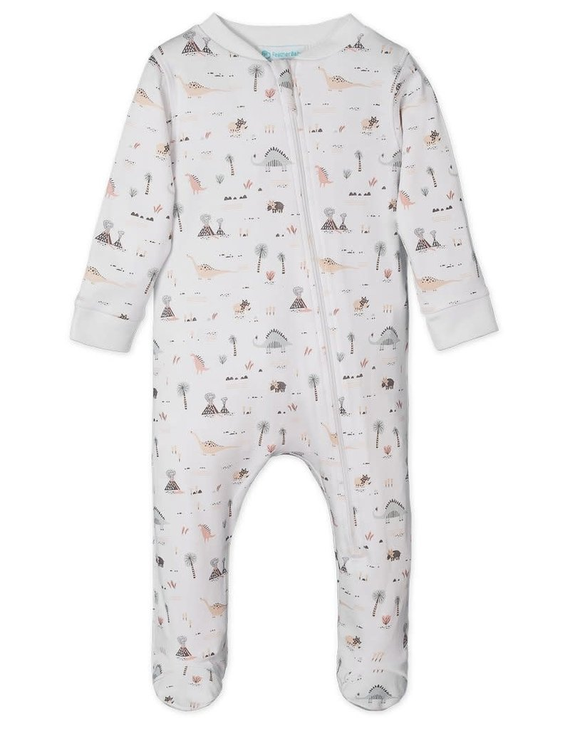 Feather Baby | Green/Coral Dinosaurs on White Zipper Footie