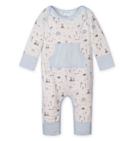 Feather Baby | Kangaroo Romper Dinosaurs on White