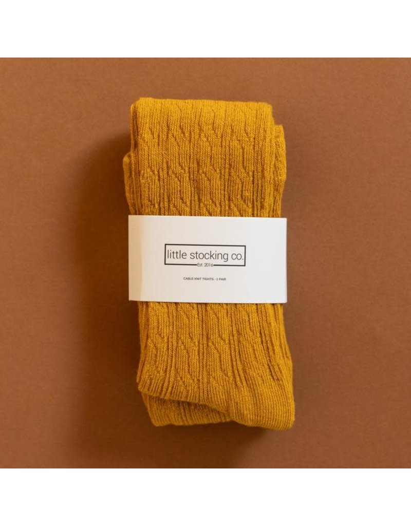 Little Stocking Co. Cable Knit Tights in Golden Yellow