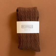 Cable Knit Tights in Chocolate Brown