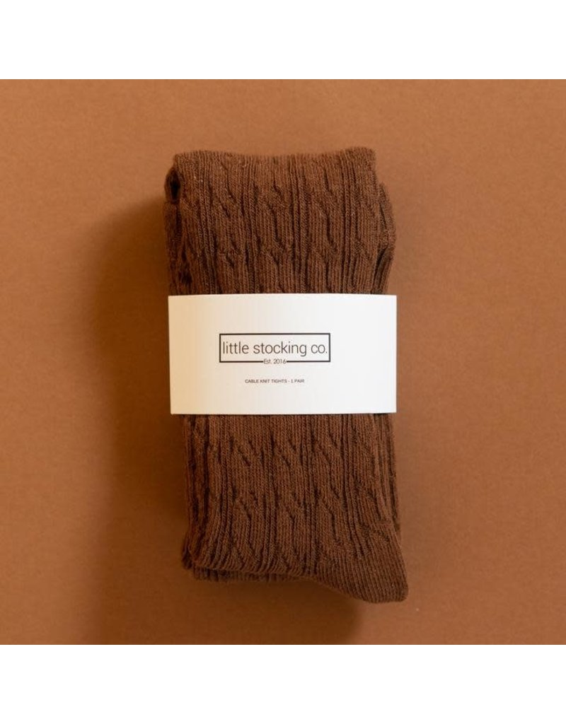 Little Stocking Co. Cable Knit Tights in Chocolate Brown
