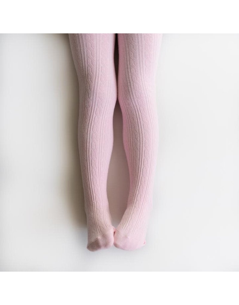 Little Stocking Co. Cable Knit Tights in Light Pink
