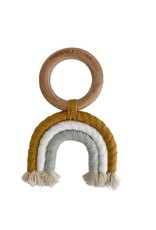 Macrame Rainbow Teether | Mustard & Grey