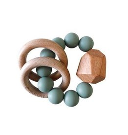 Hayes Silicone + Wood Teether Ring | Succulent