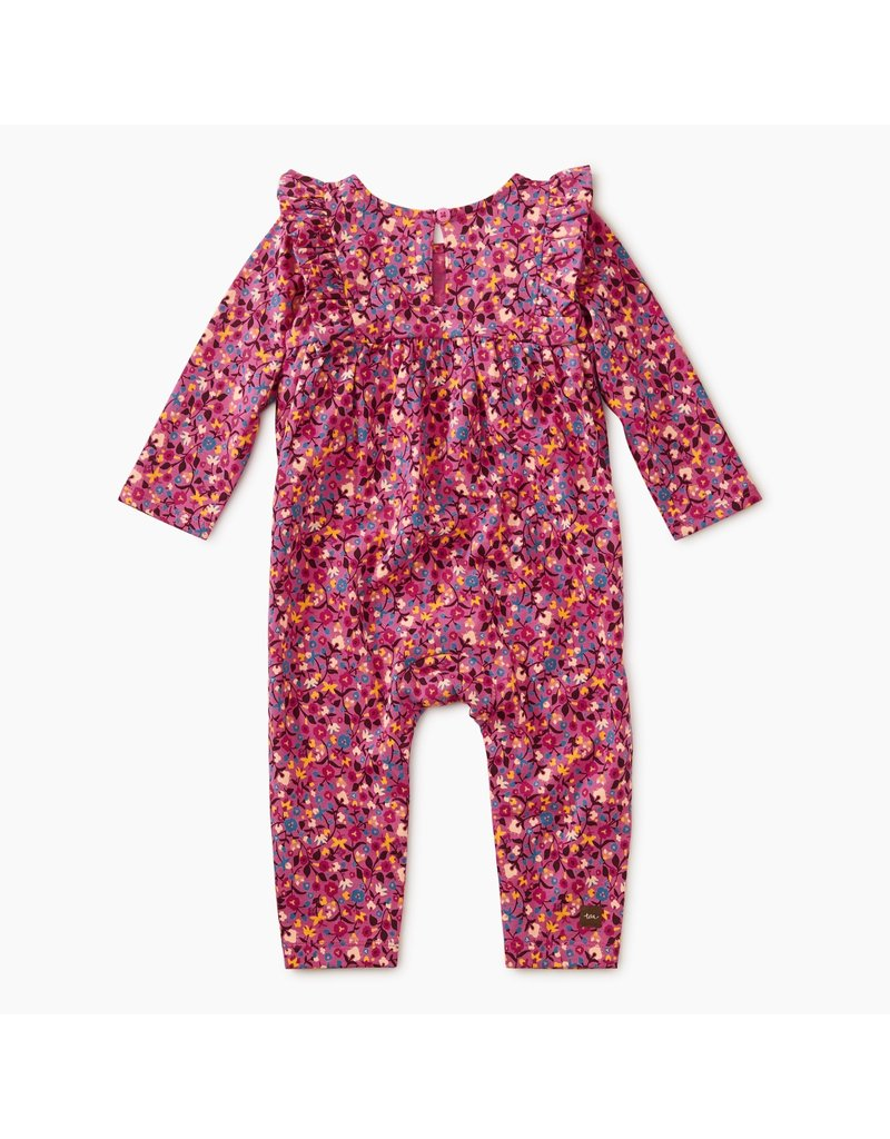 Tea Collection Ruffle Romper in Flambe Floral