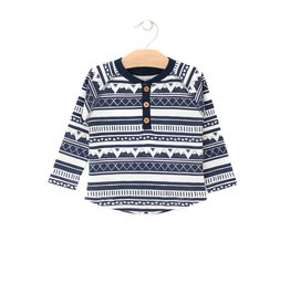 City Mouse City Mouse   Mountain Stripe Henley in Midnight