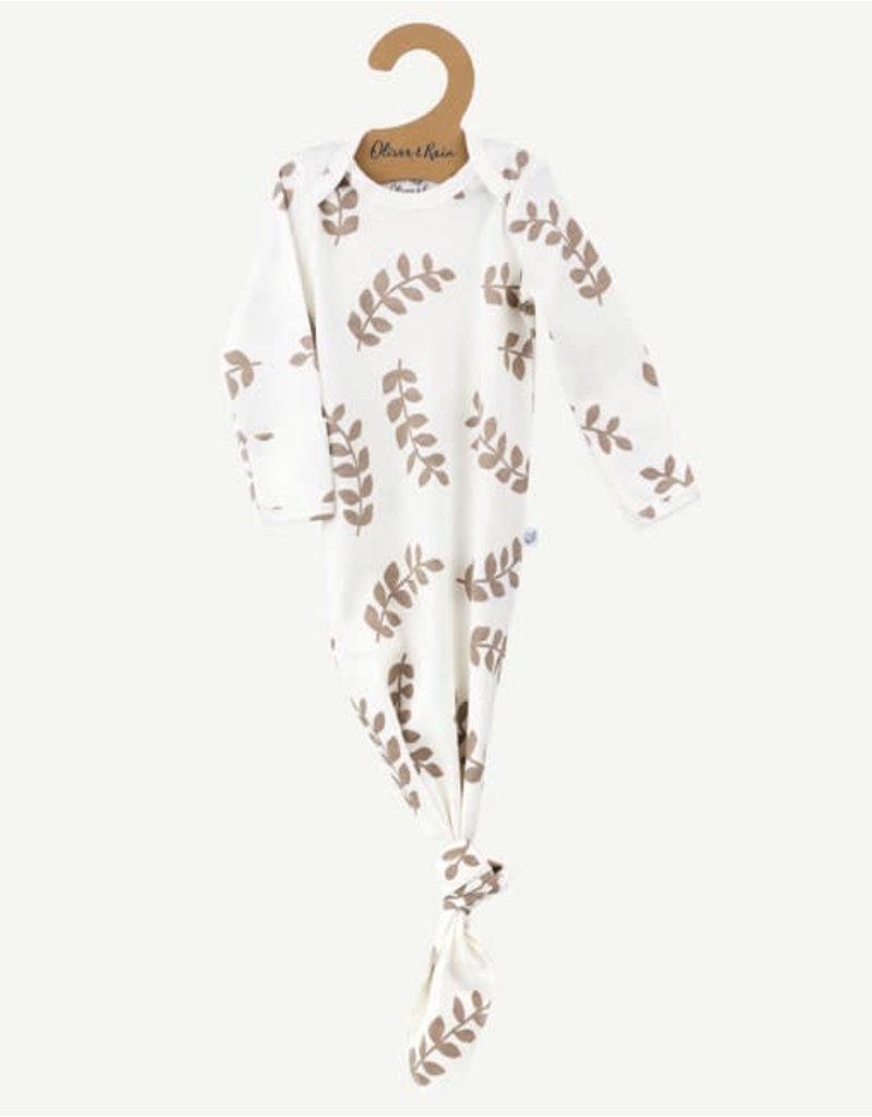 Oliver & Rain Pima Cotton Baby Gown | Ivory Fern Print