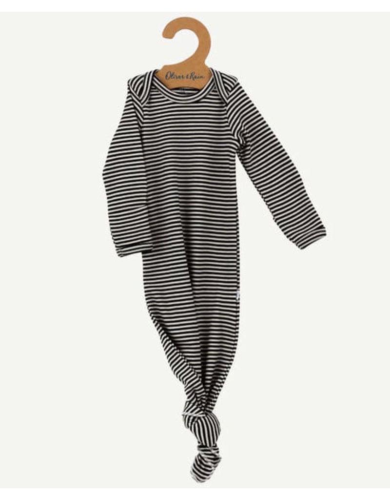 Oliver & Rain Pima Cotton Baby Gown | Black Mini Stripe