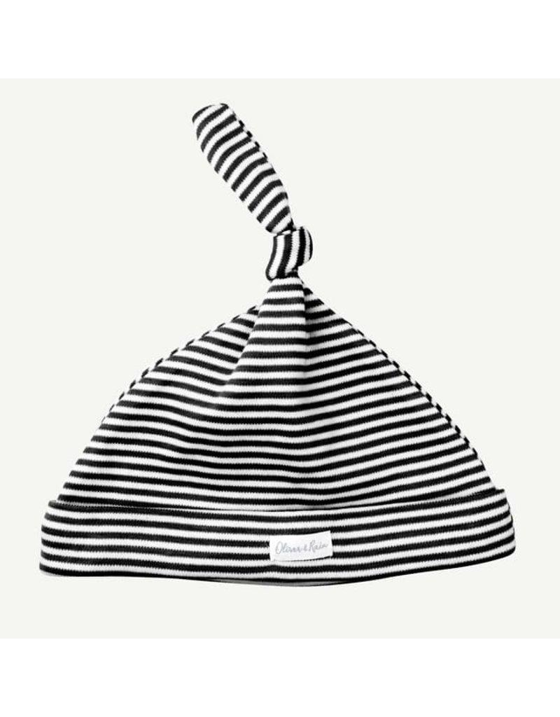 Oliver & Rain Black & White Mini Stripe Cap