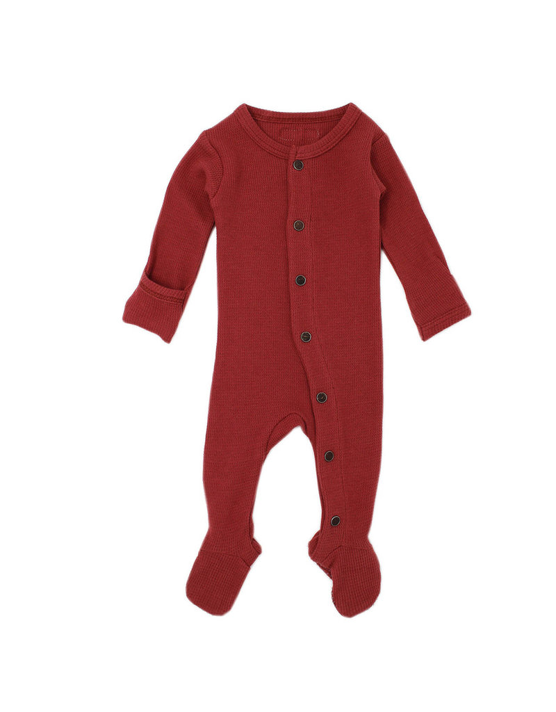 L'oved Baby | Organic Thermal Footie in Rust
