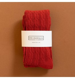 Little Stocking Co. Cable Knit Tights in Spice Red