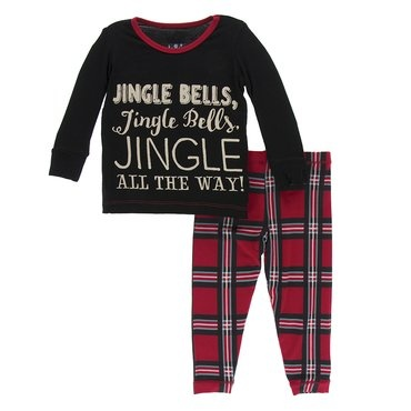 Kickee Pants Kickee Pants | Jingle Bell Plaid Pajama Set