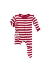 Kickee Pants Kickee Pants| Toddler Candy Cane Snap Footie