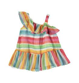 Mayoral Mayoral | One-Shoulder Rainbow Stripe Dress
