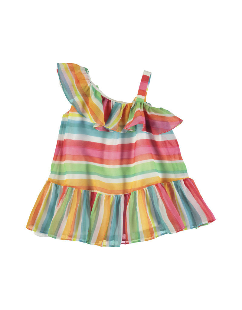 Mayoral Mayoral | One-Shoulder Rainbow Stripe Dress