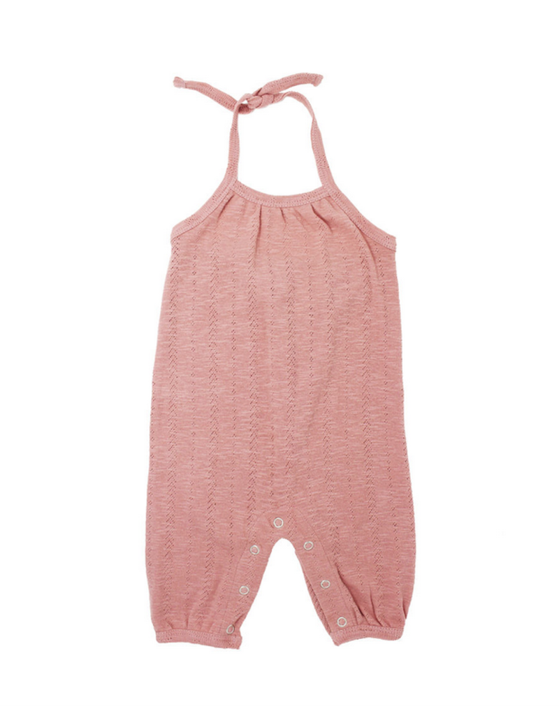 L'oved Baby   Pointelle Toddler Romper in Mauve