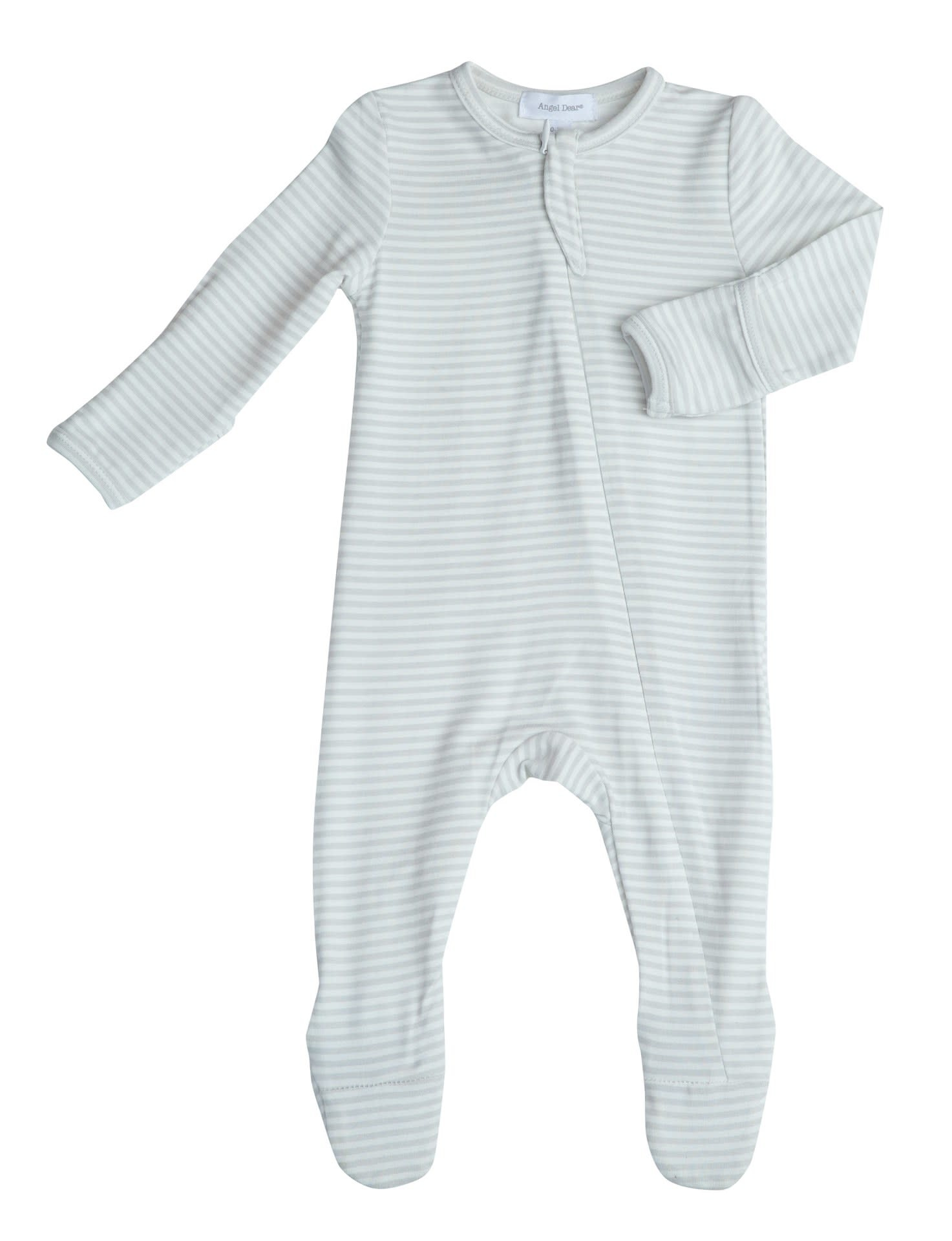Angel Dear Angel Dear | Grey Stripe Zipper Footie