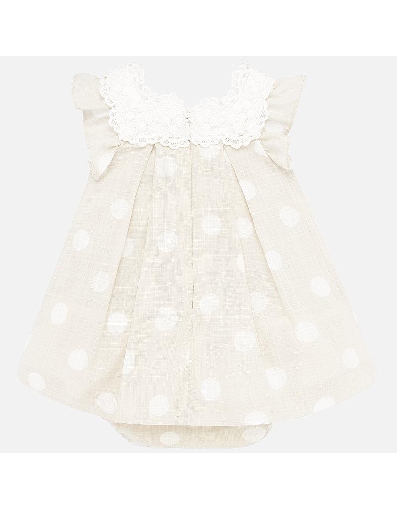 Mayoral Mayoral   Polka Dot & Lace Baby Dress