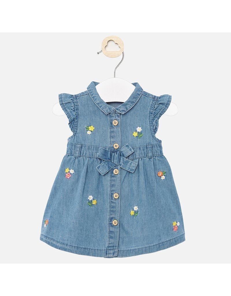 Mayoral Mayoral | Embroidered Denim Baby Dress