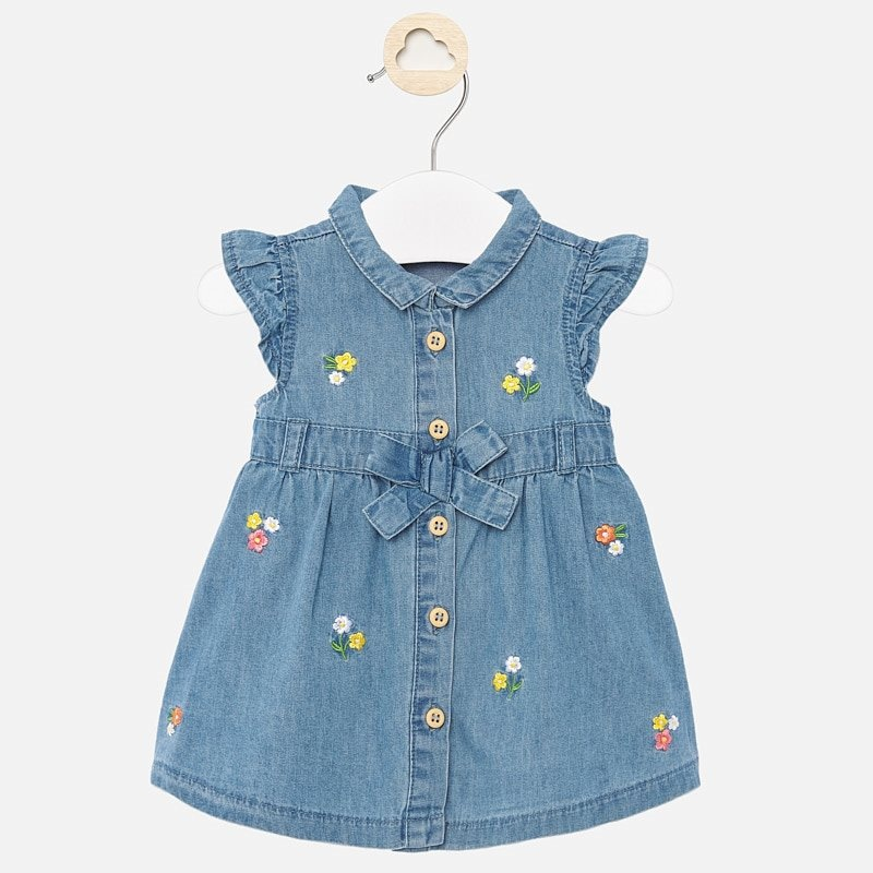 Mayoral Mayoral | Embroidered Denim Baby Dress