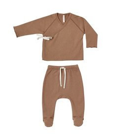 Quincy Mae Quincy Mae | Kimono Top & Footed Pant Set in Rust