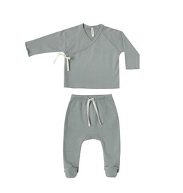 Quincy Mae Quincy Mae | Kimono Top & Footed Pant Set in Ocean