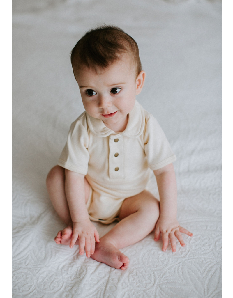 L'oved Baby   Polo Bodysuit in Ivory