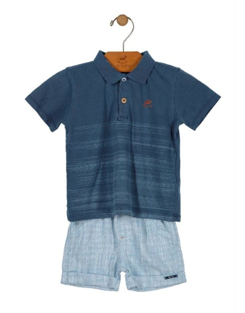 Up Baby| Striped Polo Set