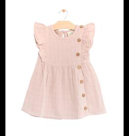 City Mouse City Mouse | Muslin Flutter Side Button Dress