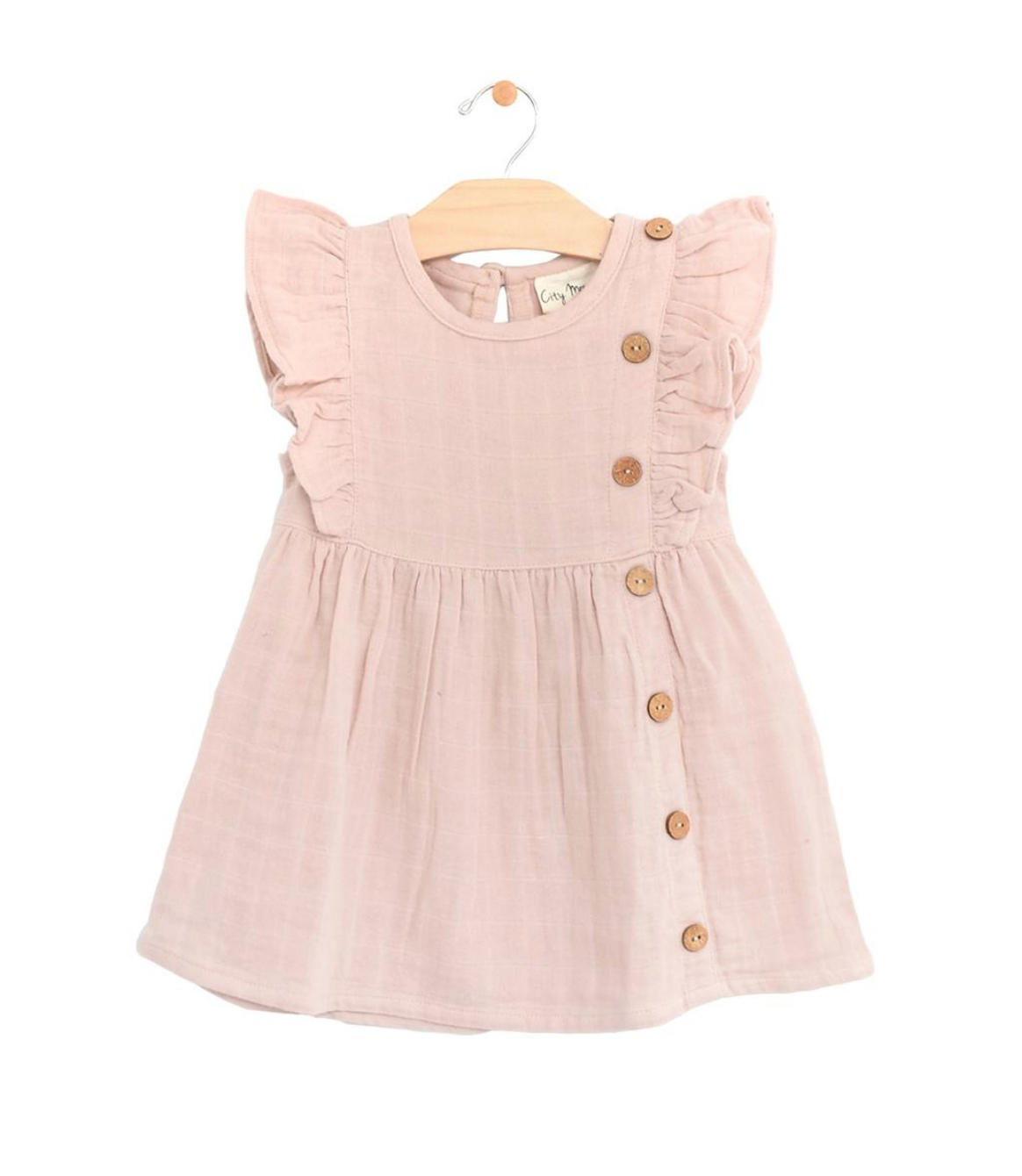 City Mouse City Mouse | Muslin Flutter Side Button Dress