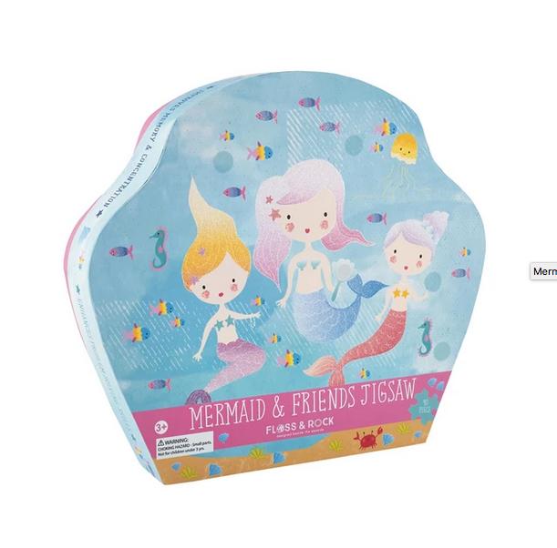Floss & Rock 40 Piece Shaped Box Puzzle | Mermaid Glitter