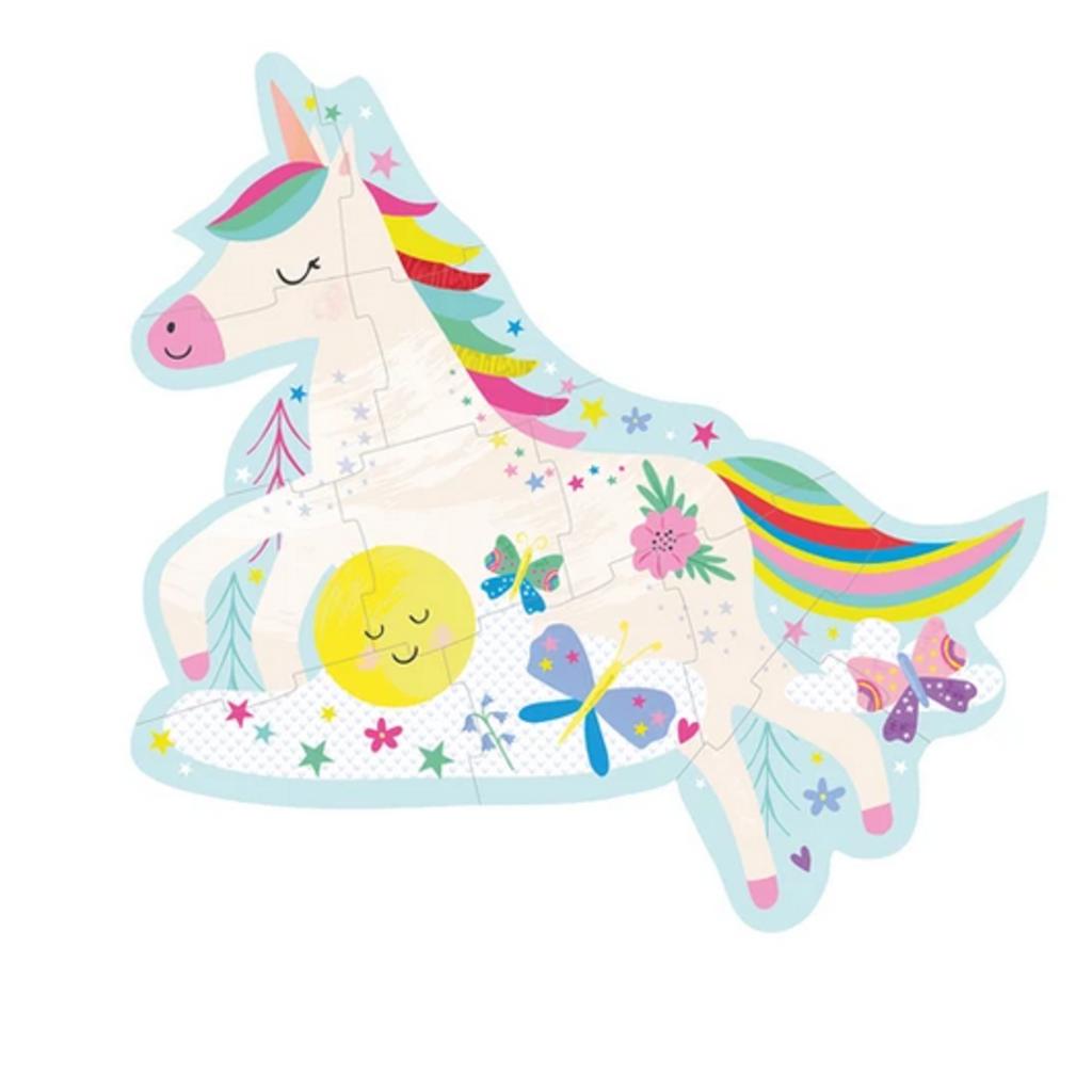 Floss & Rock 12 Piece Shaped Box Puzzle   Rainbow Unicorn