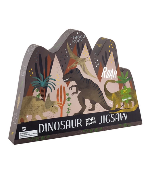 Floss & Rock 80 Piece Shaped Box Puzzle | Dinosaur