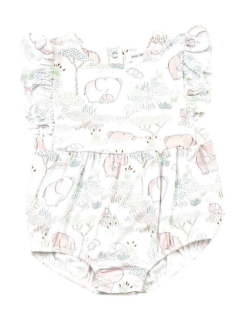 Angel Dear Angel Dear   Pink Elephant Ruffle Sunsuit