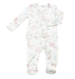 Angel Dear Angel Dear | Pink Elephant Ruffle Zipper Footie