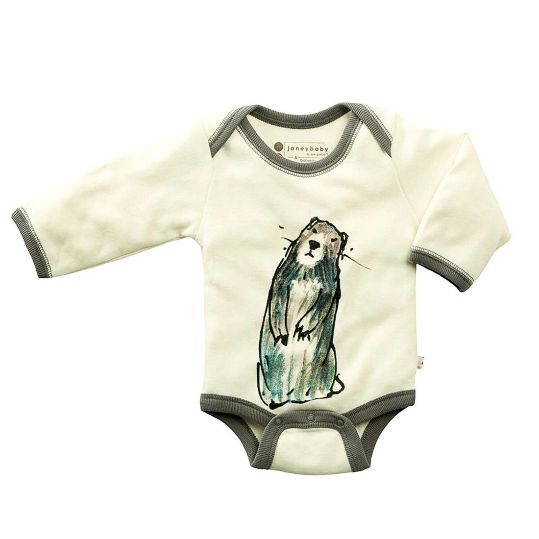 Babysoy Janey Baby Goodall Animal Bodysuit- Marmot