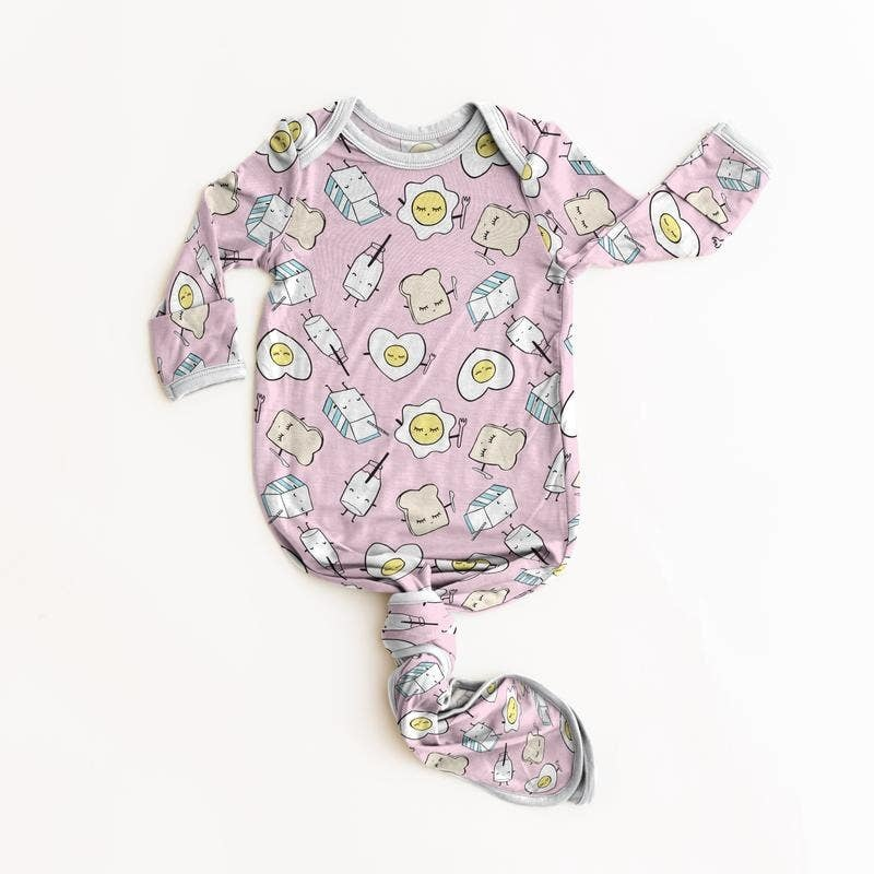 Little Sleepies Little Sleepies Pink Breakfast Buddies Bamboo Infant Knotted Gown