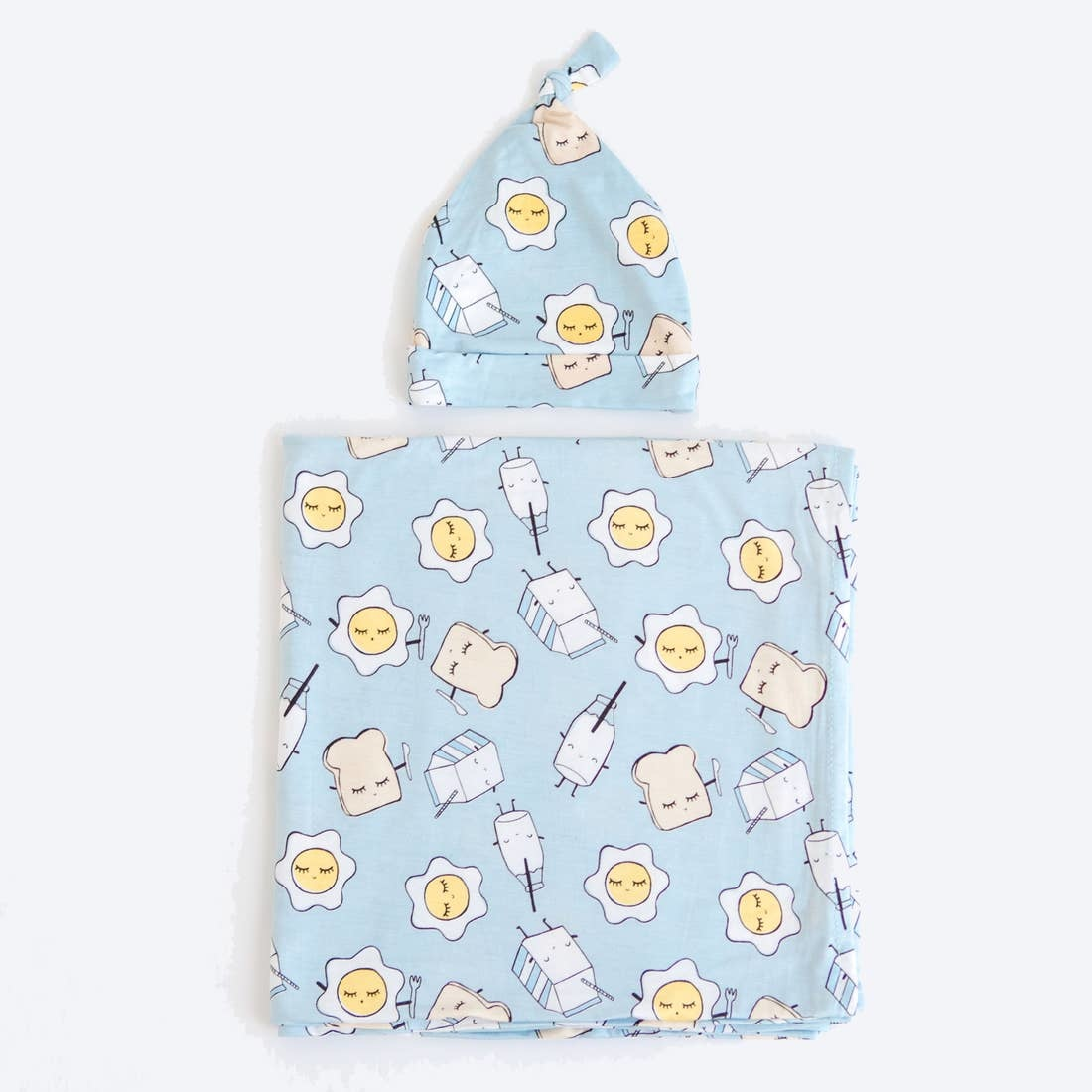 Little Sleepies Little Sleepies Blue Breakfast Buddies Bamboo Swaddle and Knotted Hat Set