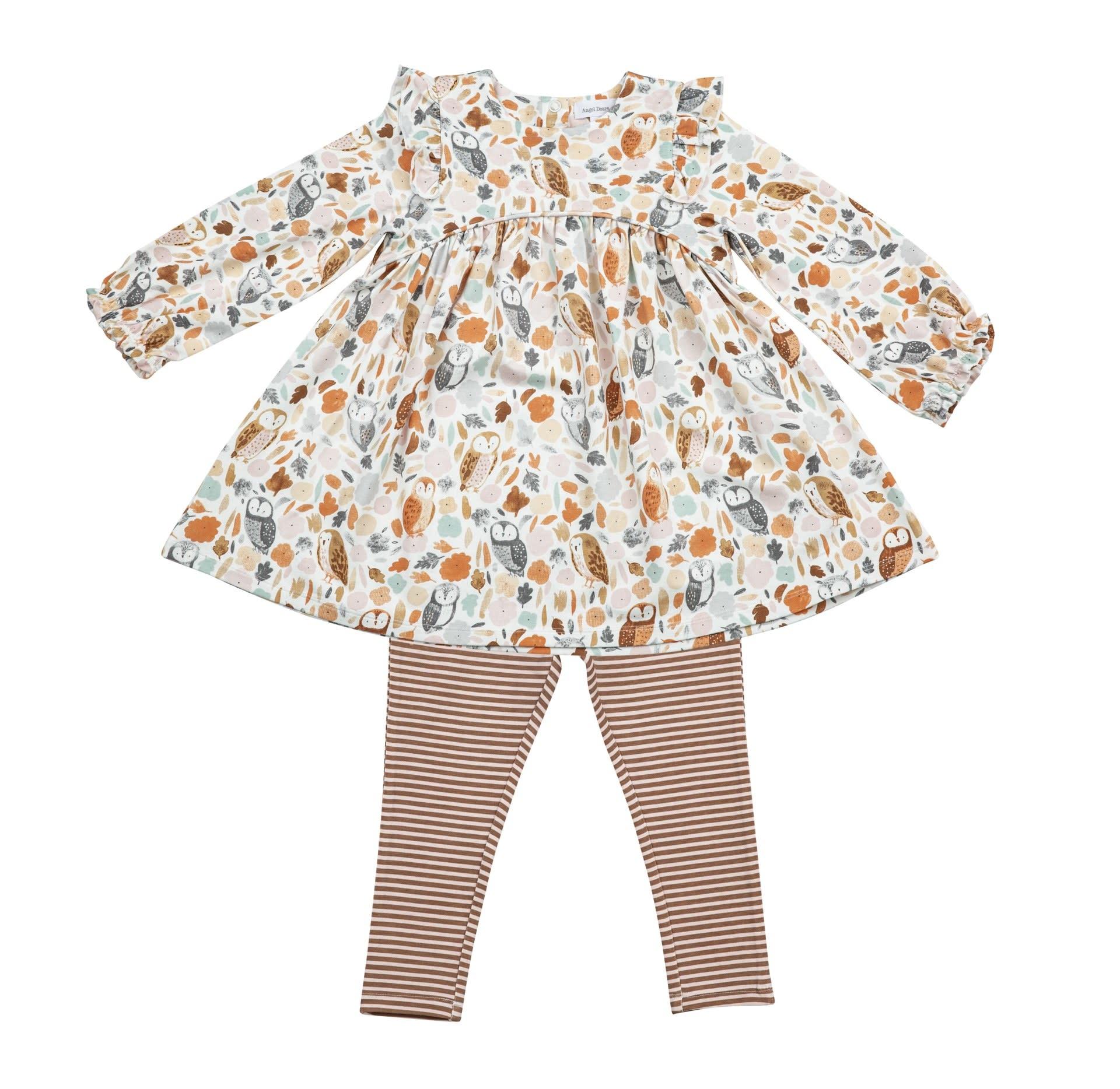 Angel Dear Angel Dear | Autumn Owls Dress and Legging Set