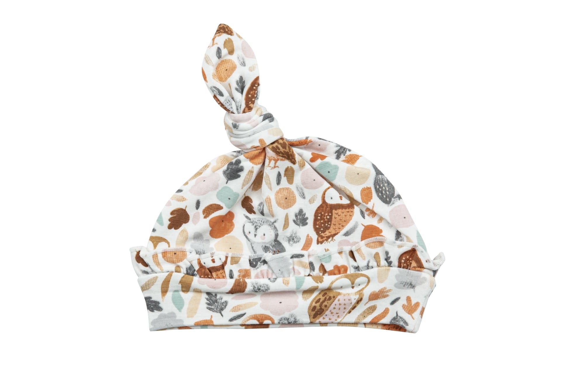 Angel Dear Angel Dear | Autumn Owls Ruffle Knotted Hat