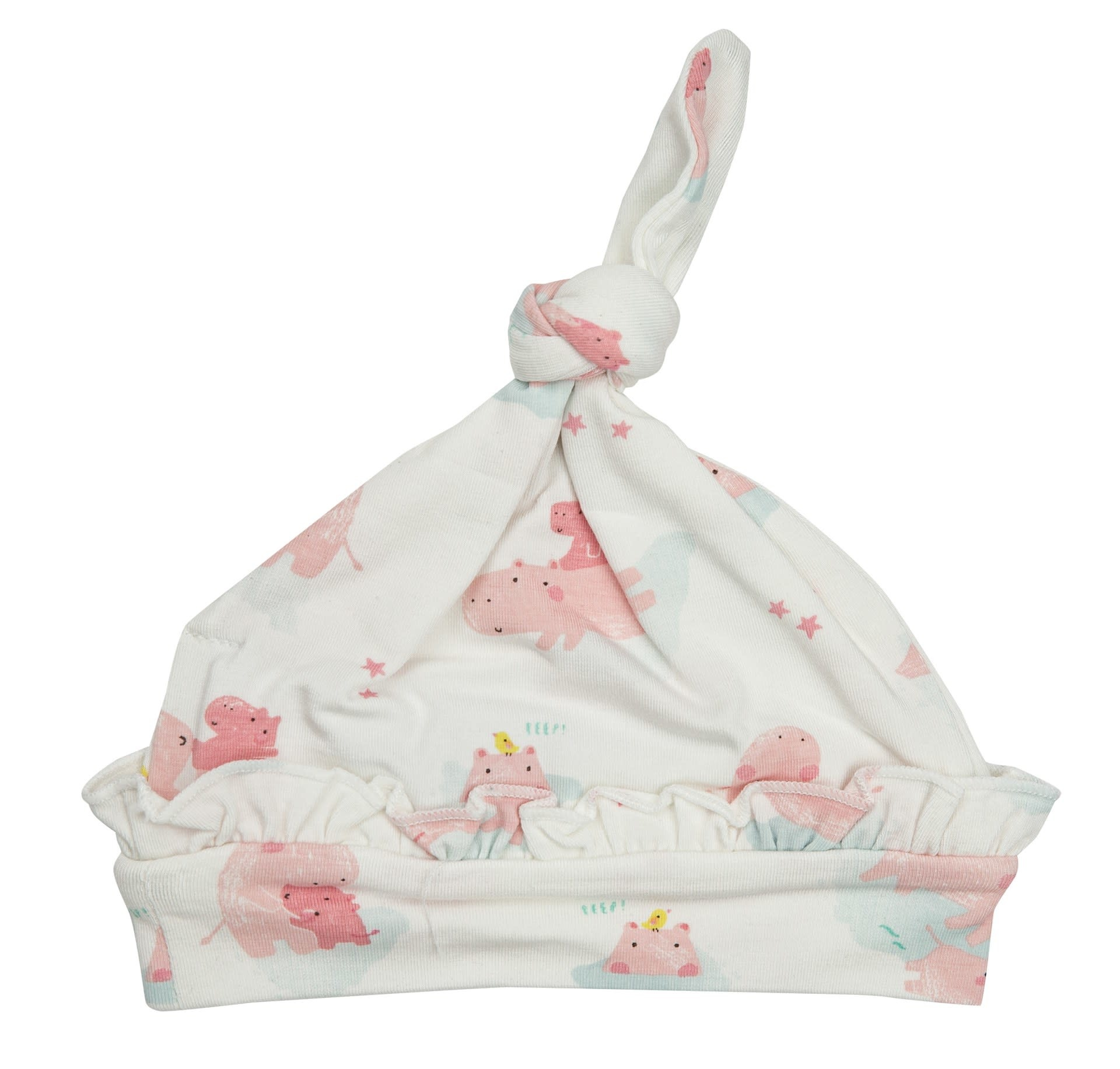 Angel Dear Angel Dear | Hippo Pink Ruffle Knotted Hat
