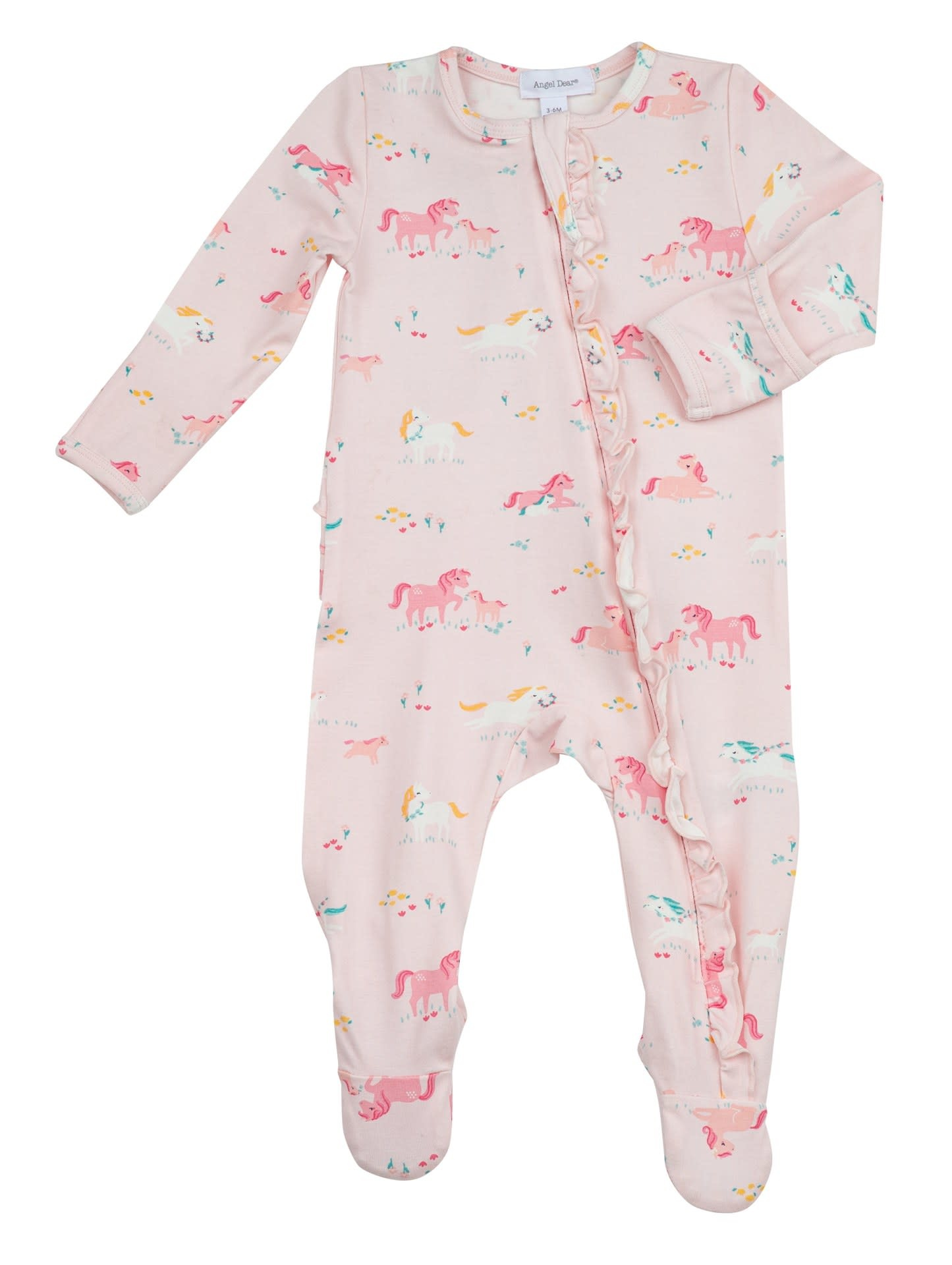 Angel Dear Angel Dear | Girl Ponies Ruffle Zipper Footie