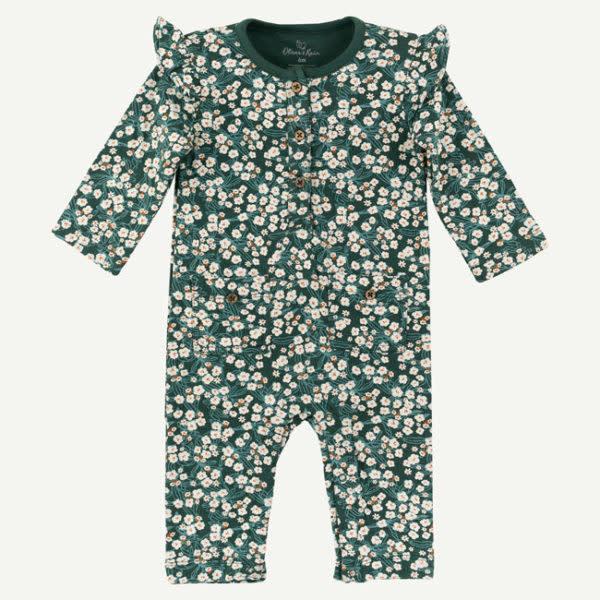 Oliver & Rain Oliver & Rain | Organic Cotton Floral Print Pine Green Jumpsuit