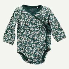 Oliver & Rain Oliver & Rain | Organic Cotton Floral Print Pine Green Kimono Bodysuit