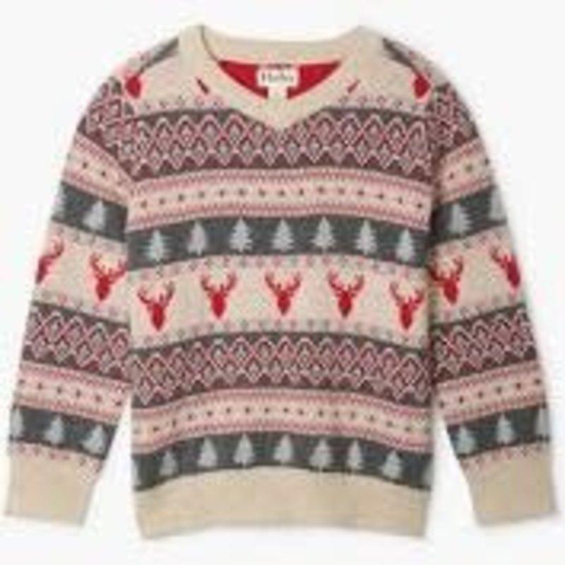 Hatley Hatley   Fair Isle Stags V-Neck Sweater