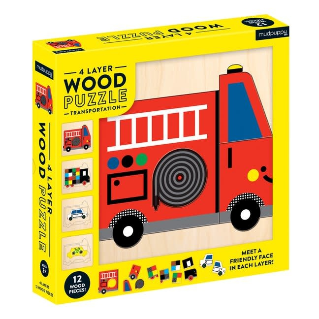Mudpuppy | 4 Layer Wood Puzzle Transportation